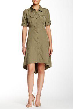 ECI Roll Sleeve Hi-Lo Trapeze Shirt Dress