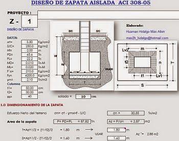 Diseno De Zapata Aislada Aci 308 05 Ingenieria Civil Practica Disenos De Unas Programa Arquitectura Arquitectura Subterranea
