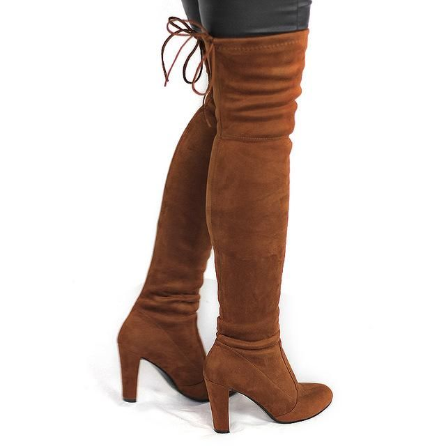 Boot Women Faux Suede Thigh High Boots Stretch Flock High Heels Woman Shoes Black Red Gray 2