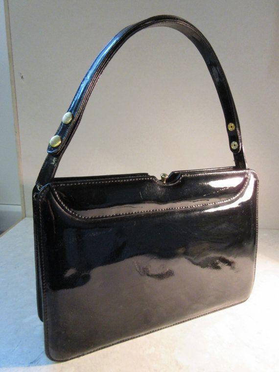 Lovely Vintage 1950 S Black Patent Handbag Made By Jemimavintage