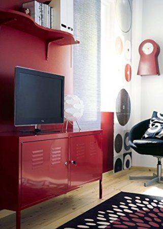 Ikea Red Cabinet Tv Stand Multi Use Lockable Locker
