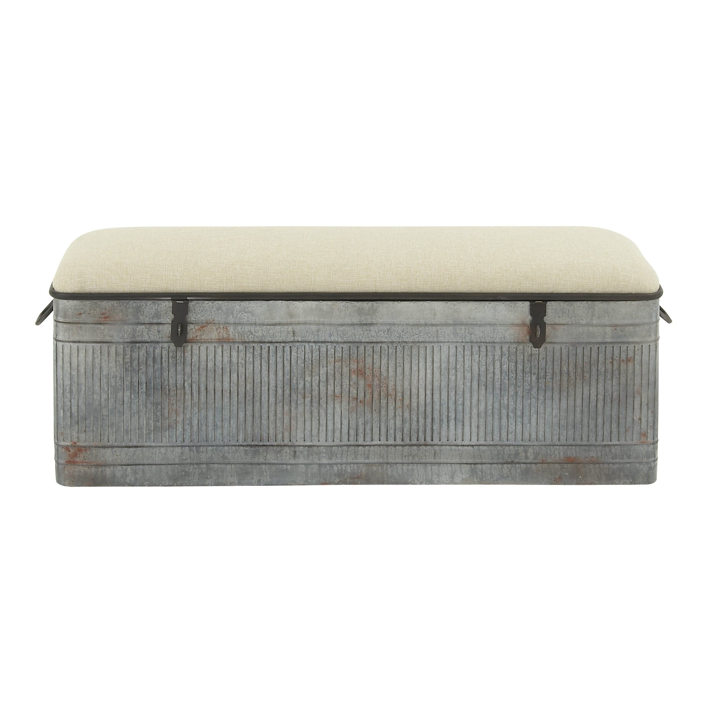Stupendous Decmode 50 Inch Rustic Gray Metal Storage Bench Gray Theyellowbook Wood Chair Design Ideas Theyellowbookinfo