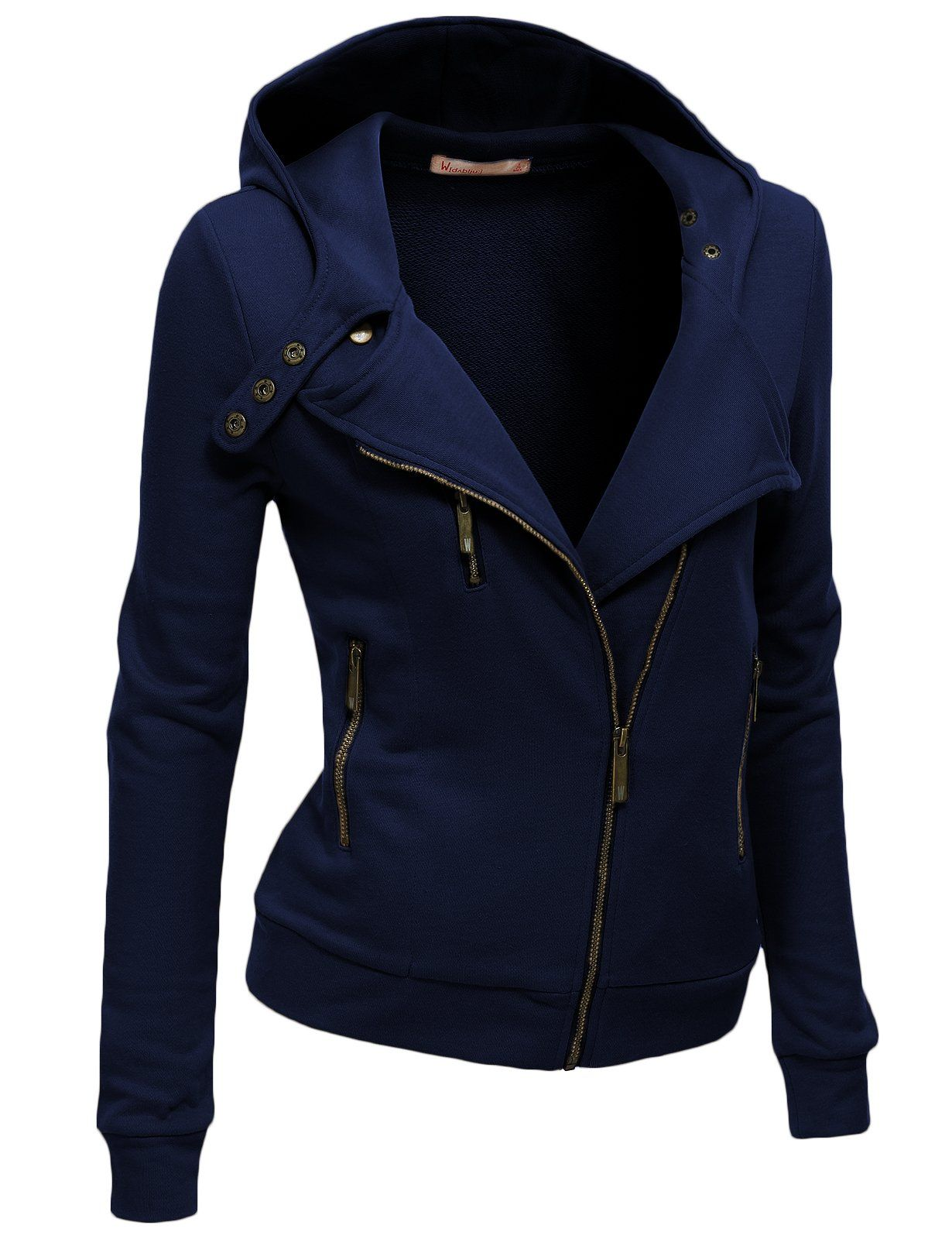 Women Slim Fit Fleece Zipup Hoodie Jacket with Zipper