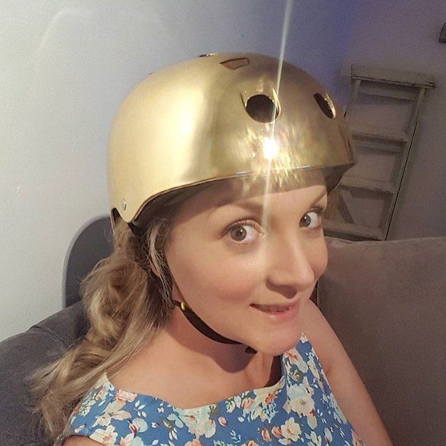 Gold cycling helmet! #gold #besafe #cyclesafety
