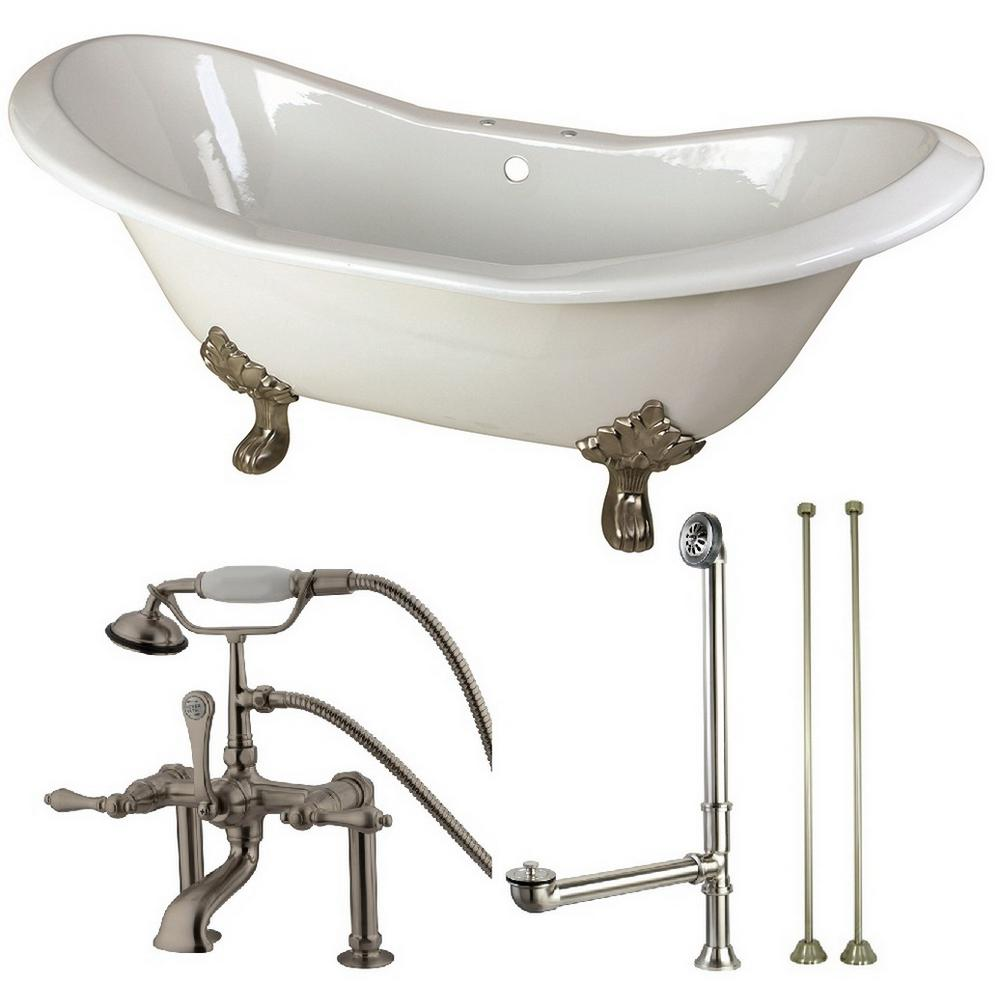 Aqua eden double slipper ft cast iron clawfoot bathtub in white