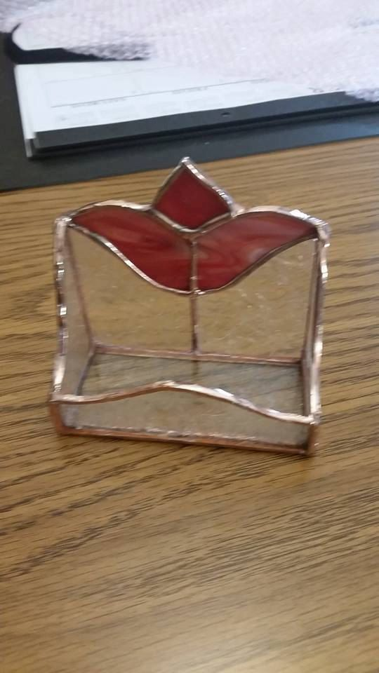 Stained Glass Tulip Business Card Holder   Soldered   Pinterest ...