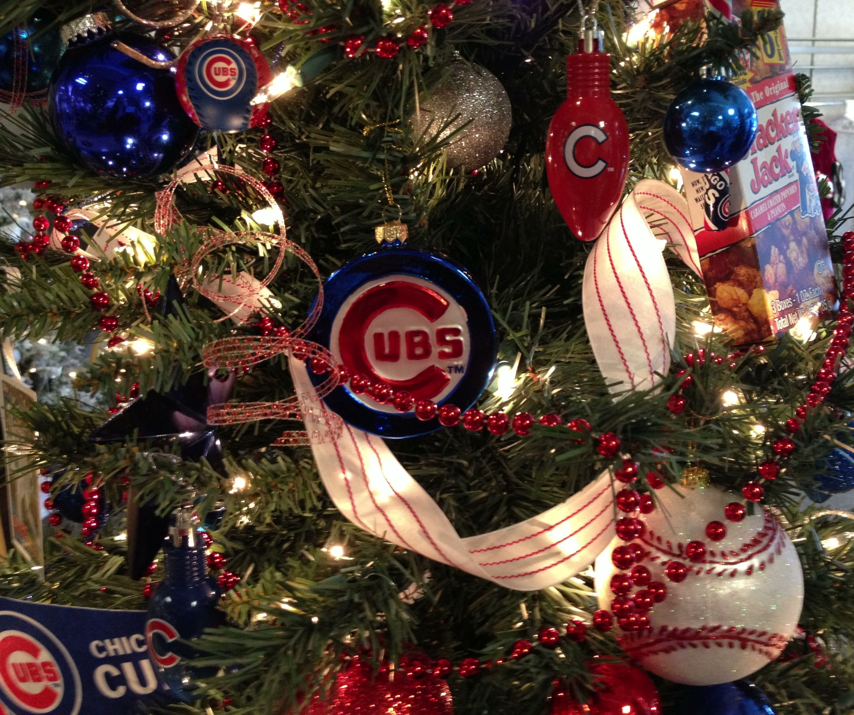 chicago cubs christmas tree by ribbonista leah farrar white - Christmas Trees Chicago
