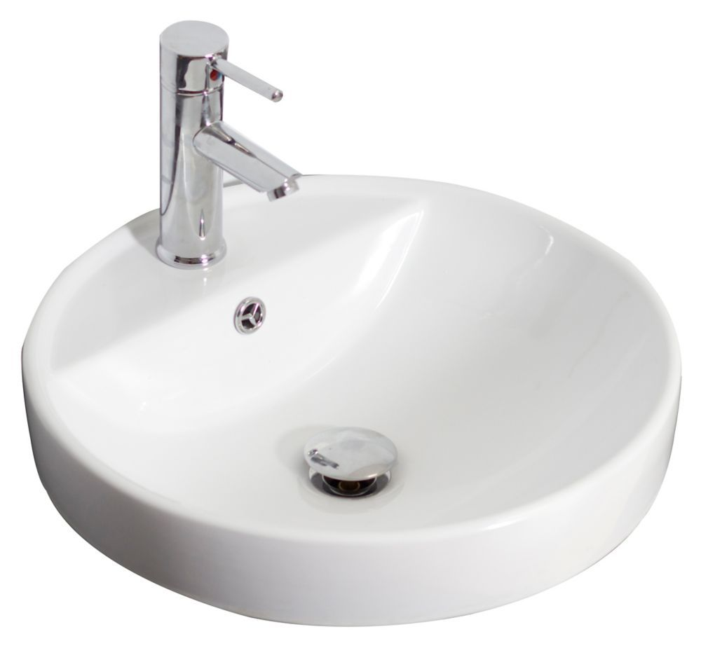 Drop In Round Ceramic Vessel Sink In White Sink Vessel Sink Faucet