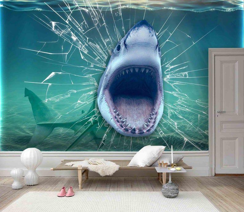 3d Cartoon Fierce Shark Wallpaper Removable Self Adhesive Wallpaper Wall Mural Vintage Art Peel And Stick Mural Wallpaper Mural Wallpaper