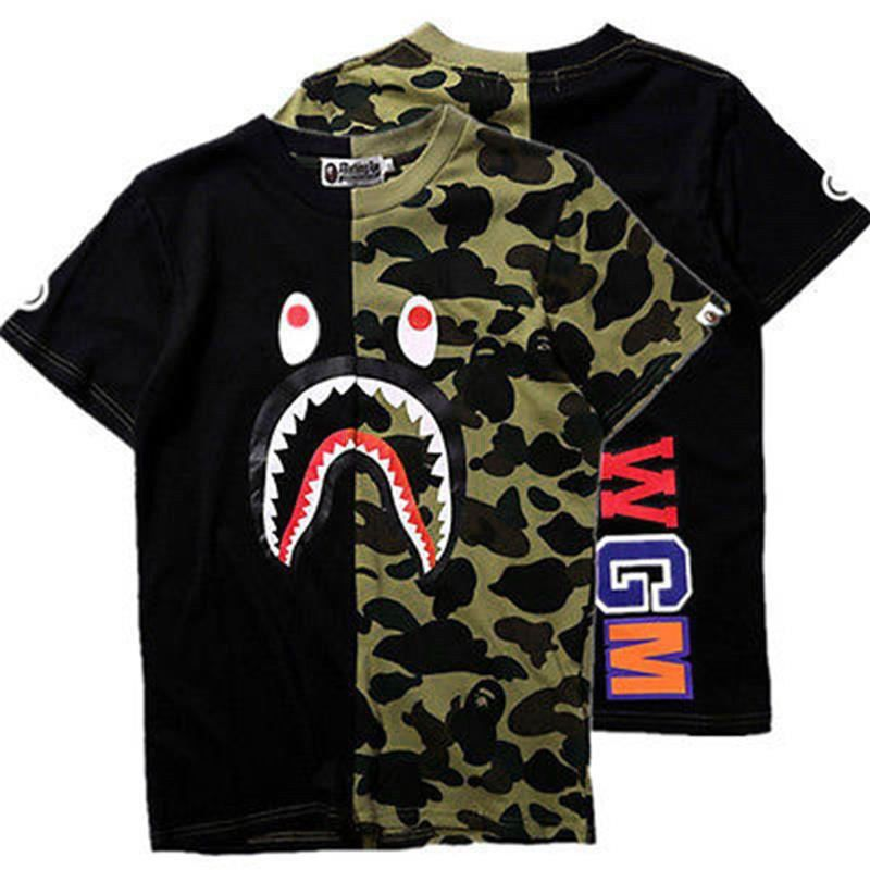 BAPE A Bathing Ape Short Sleeve T-shirt Shark Head Round Collar Unisex Tee Tops