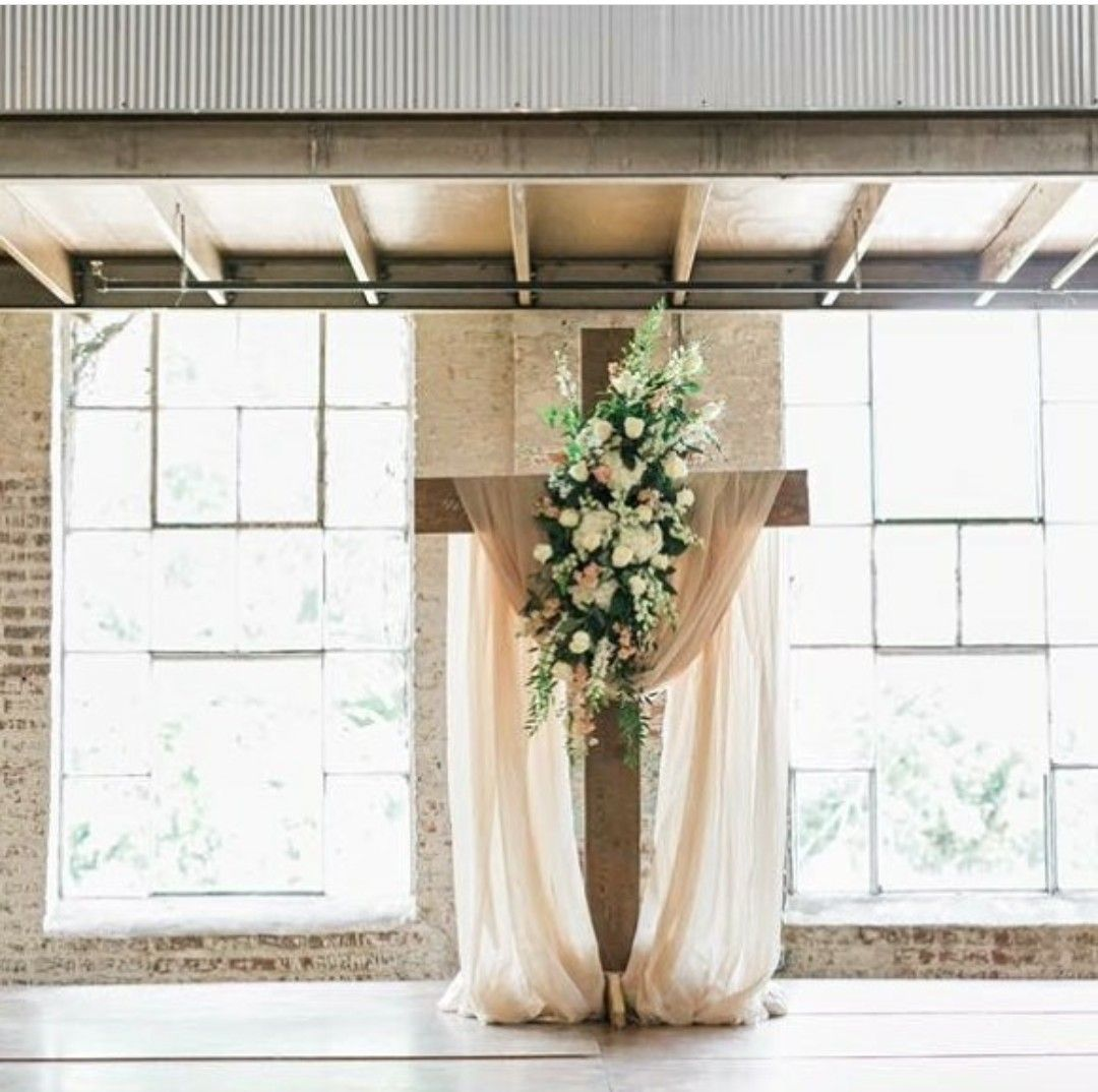 Cross With Flowers And Tulle For Wedding Backdrop In 2019