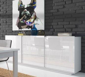 Buffet Bahut Design 2 Portes 3 Tiroirs 160 Cm Laque Blanc