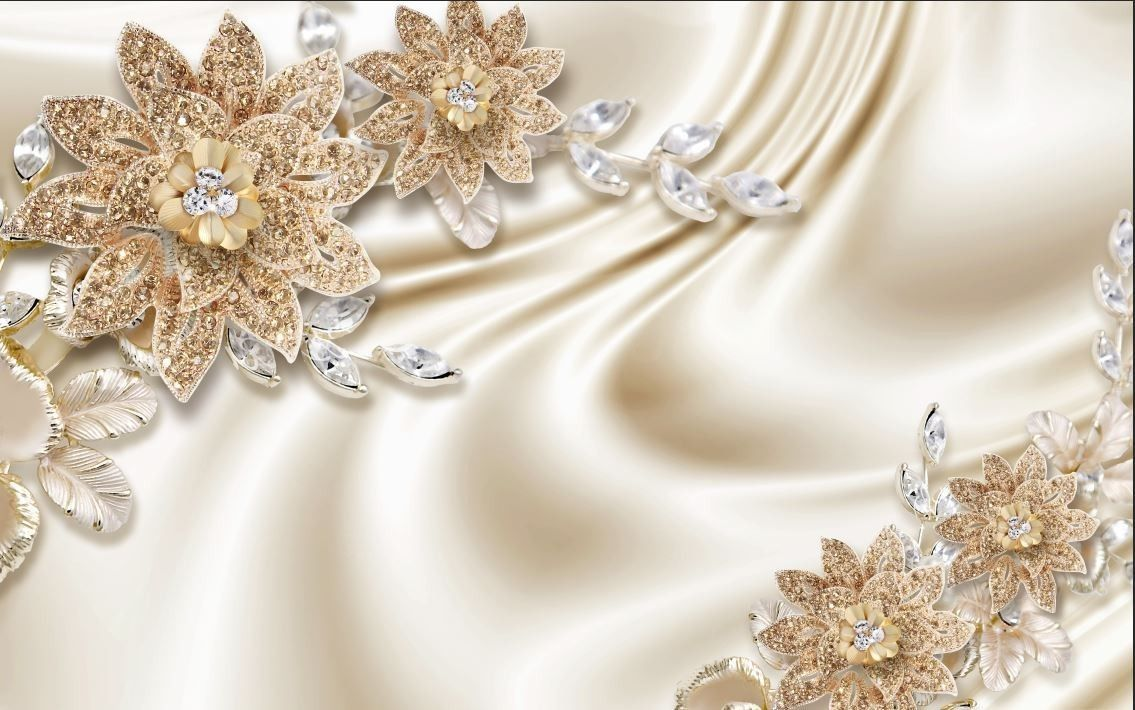 3D Yellow Golden Jewellery Flower and Gold TV Background ...