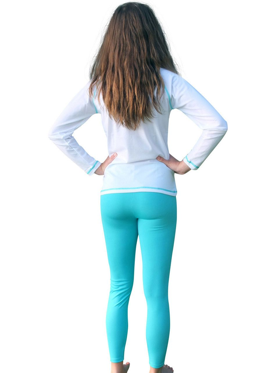 Girls Long Sleeve Rash Guard And Swim Pants Sizes 4 12