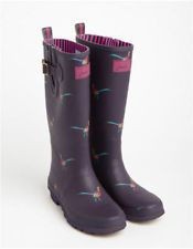 Joules Welly Print Womens Printed Wellie Boots - Purple Pheasant