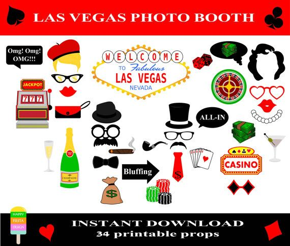 Las Vegas Photo Booth Props–34 Pieces-Printable Casino Props