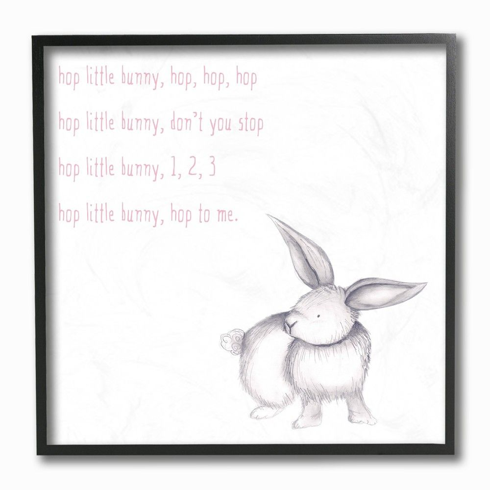 "Hop Little Bunny Rhyme Rabbit Framed Giclee Texturized Art (12""x12"") - Stupell Industries"