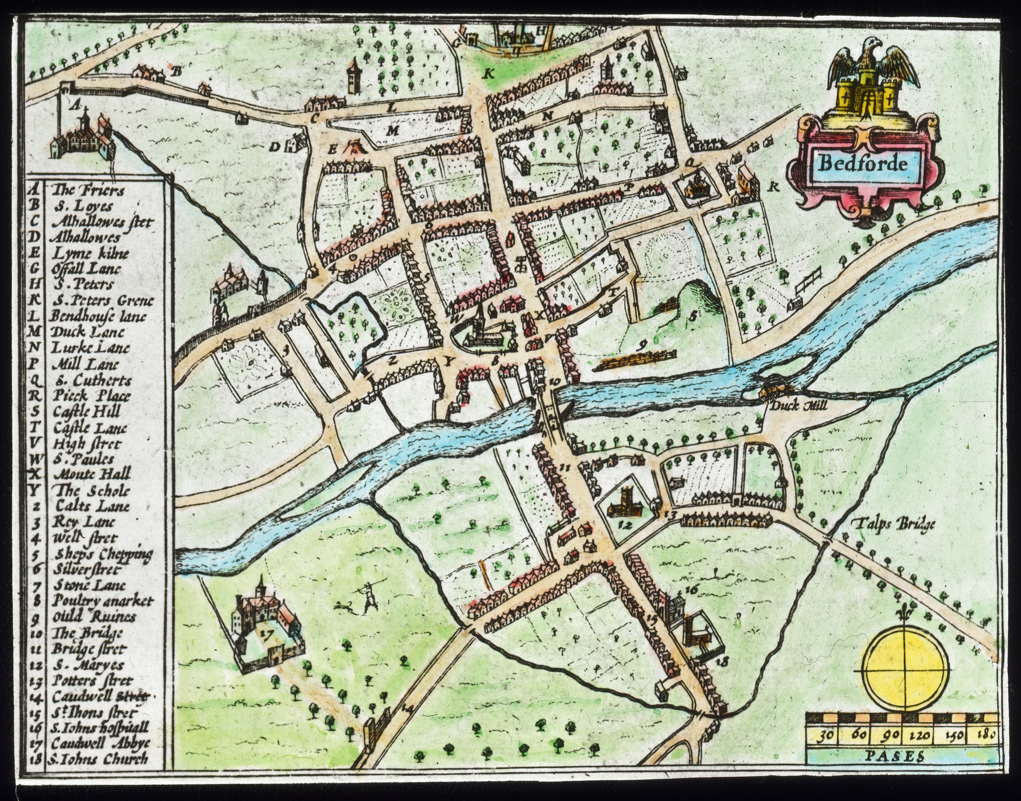A map of old Bedford by John Speed from 1610 exhibited on the wall