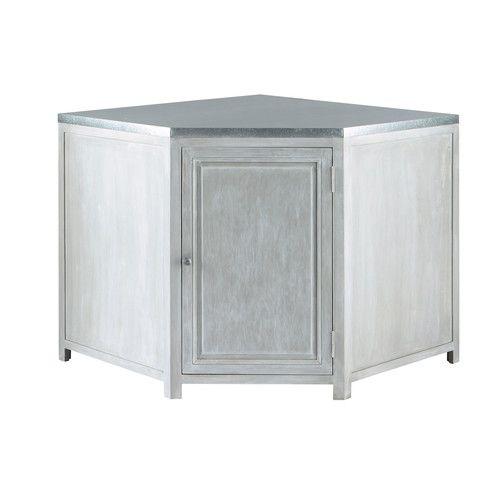 Meuble Bas D Angle De Cuisine En Bois D Acacia Gris L 99 Cm Zinc Tall Furniture Wood Worktop Maisons Du Monde