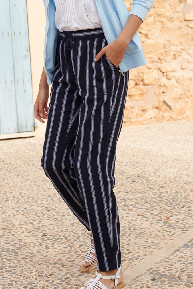 Womens Next Navy Stripe Linen Blend Tapered Trousers Blue