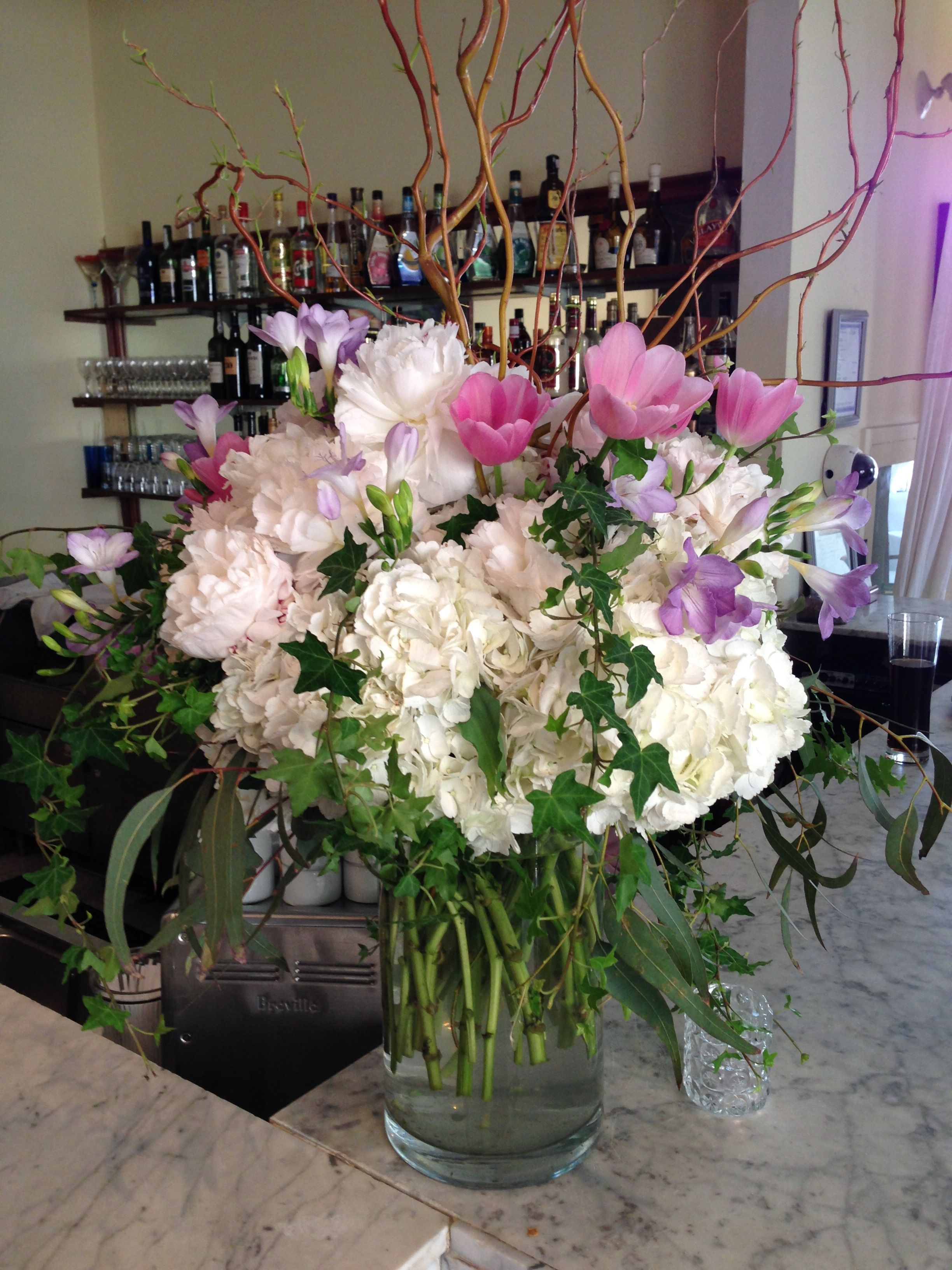 Beautiful Pink Light Purple And White Flower Arrangement For A