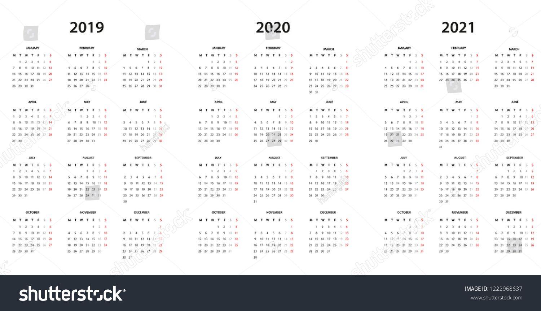 Calendar 2019 2020 And 2021 Simple Template Calendar Template Simple Calendar Template Graphic Design Typography Templates