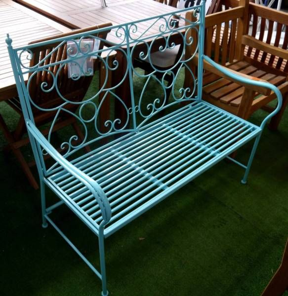Cool New Vintage Style Blue Outdoor Bench Seat Swan Street Sales Gmtry Best Dining Table And Chair Ideas Images Gmtryco