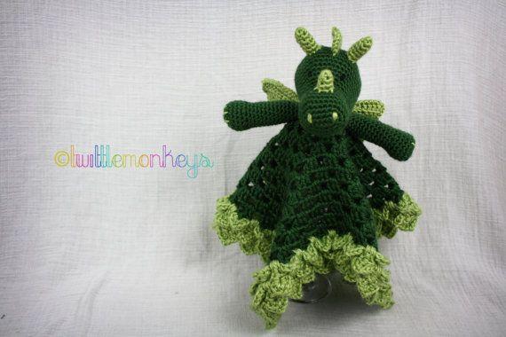 Dragon Lovey Blanket  Crochet Security Blanket by TwittleMonkeys, $32.00