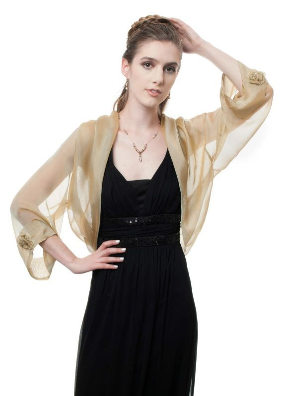 Silk Chiffon Bolero Jacket with Butterfly Cape Sleeves Collection JULIA 34 colors Sizes S-XL