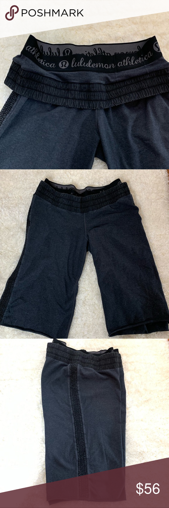"""Lululemon Pranotthana Crop Pranotthana Crop is an alternative to the traditional lululemon crop. Made with Organic cotton. Super soft and cozy. Great for Yoga.  Size tag is missing. I listed as a size 6. Please see measurements for proper fit.  Double waist band allows you to wear them both up or roll the outer band down. Low rise crop  Please pay close attention to the measurements as size tag is missing   Waist 14"""" (not stretched- they do have some stretch) Length 21"""" from waist to hem. #0214"""