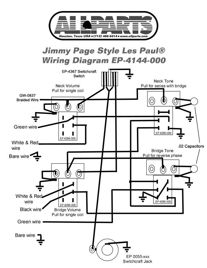 wiring kit for jimmy page les paul guitar. Black Bedroom Furniture Sets. Home Design Ideas