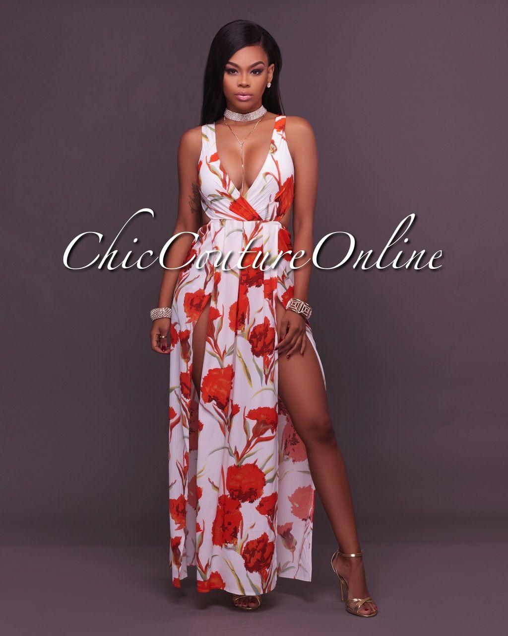 Chic Couture Online - Alberta White Orange Floral Print Bodysuit Maxi Dress 10e83eb0f3ff