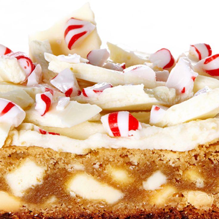 White Chocolate Peppermint Bark Blondies recipe. #BiteMeMore #food #yummy #delicious