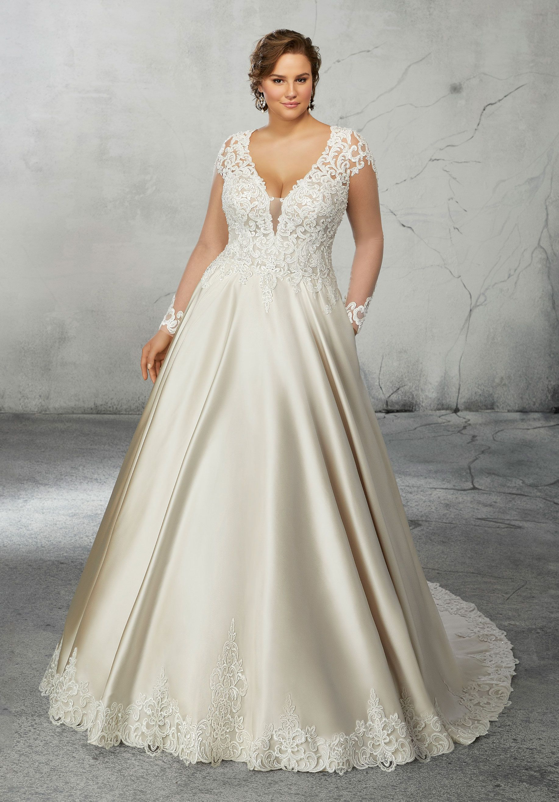This Plus Size Satin Ballgown Features Lace Long Sleeves And A