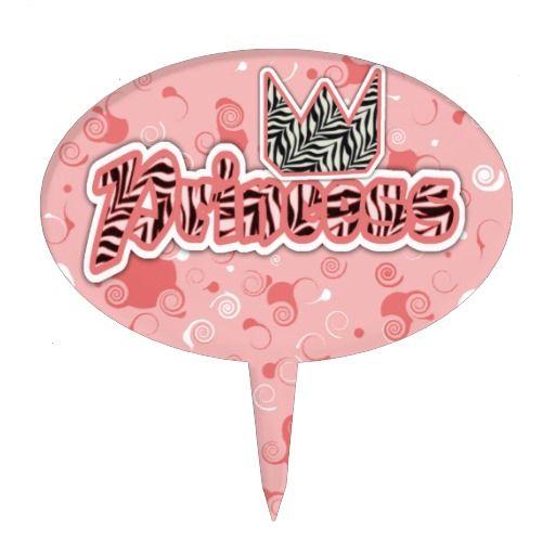 Princess Zebra Print Cake Toppers