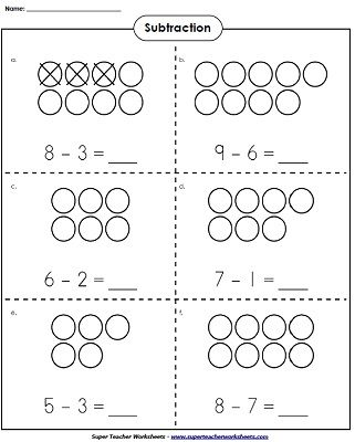 use counters to learn basic subtraction kindergartenmath math super teacher worksheets. Black Bedroom Furniture Sets. Home Design Ideas