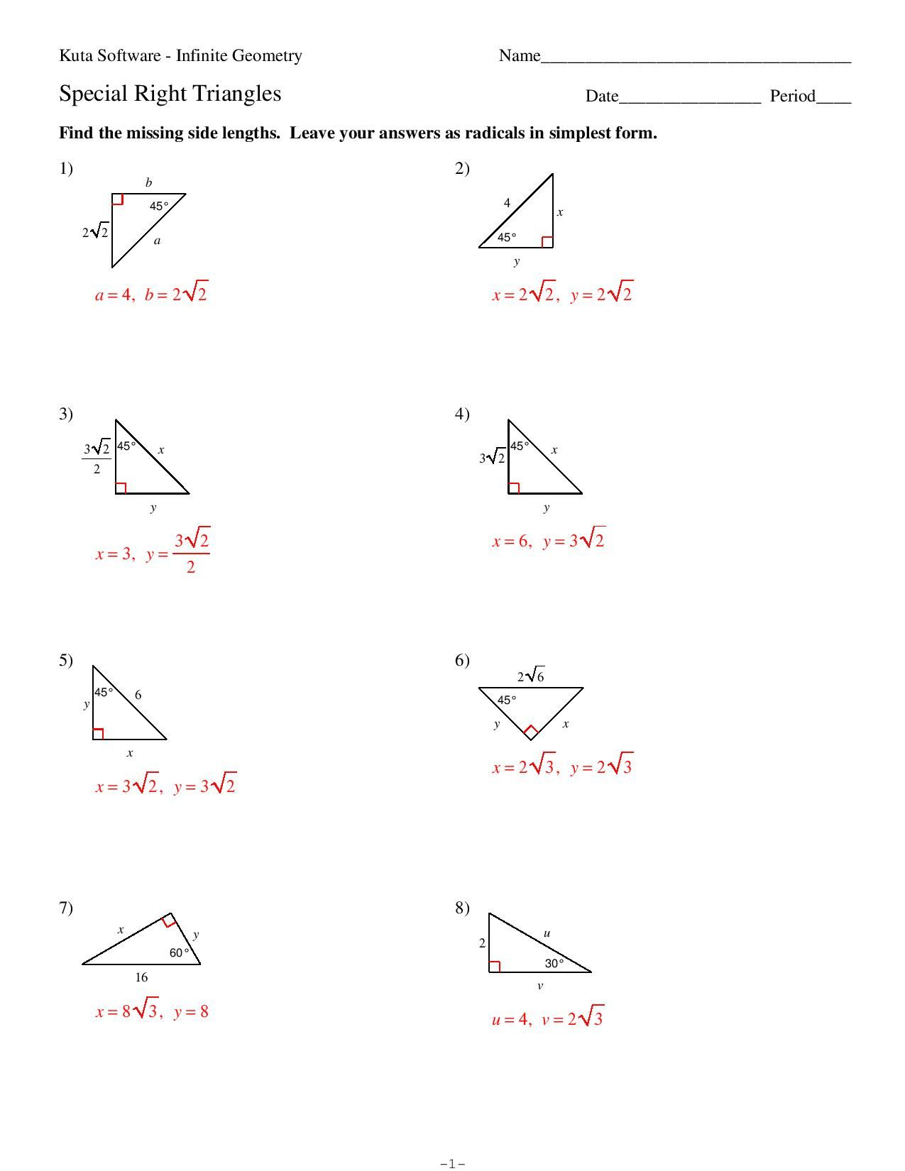 Special Right Triangles Worksheet Answers Key