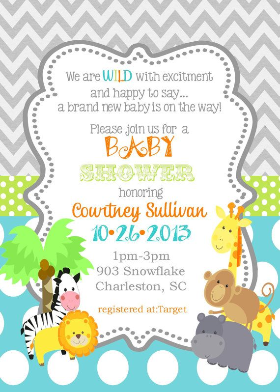 jungle animals baby shower invitation digital or printable file, Baby shower invitations