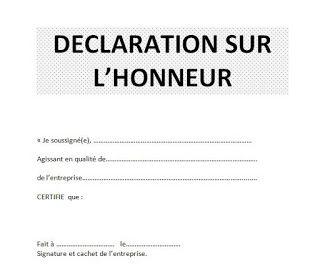 attestation sur l'honneur word doc   Word doc