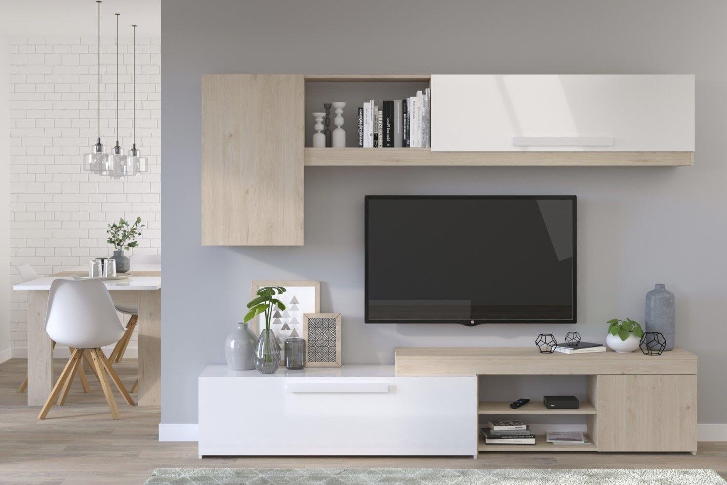 mur tv gioia imitation chene et blanc