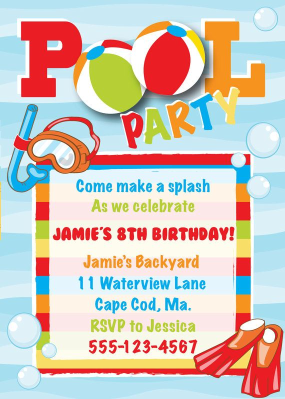 Pool Party Birthday Invitation Boy By AnchorBlueDesign On Etsy 1000