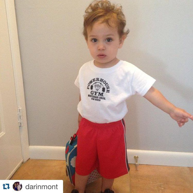 "My adorable nephew Devin Cash ""rocking"" our new Powerhouse apparel #toddlerifbbpro #mrolympia #thesupergym #powerhousegym #montanaribros"