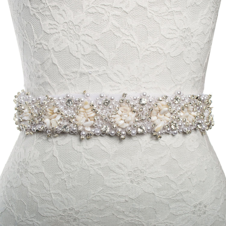 Beach wedding dress accessories sash belt Shell stone Rhinestone ...