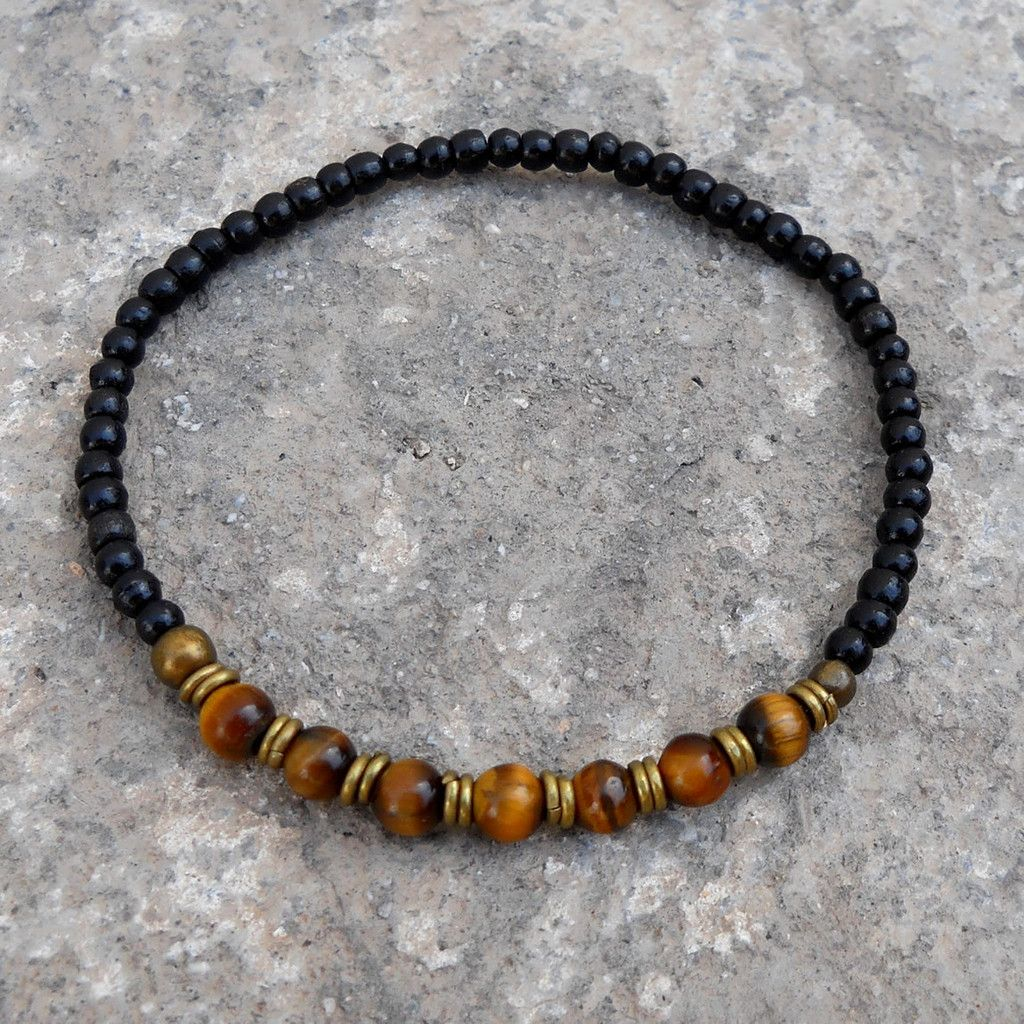 Ebony And Tiger's Eye Gemstone Mala Bracelet With African