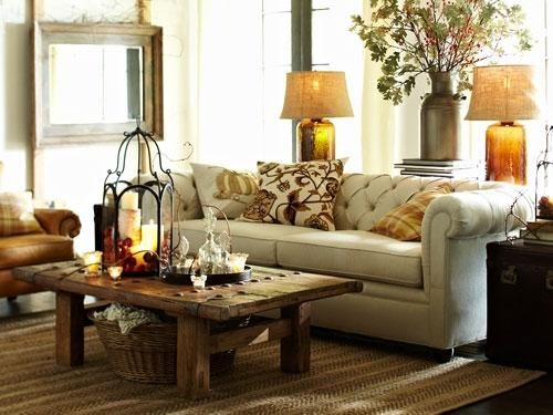 Farmhouse Living Hastings Reclaimed Wood Coffee Table Twill White Linen Chesterfield Sofa