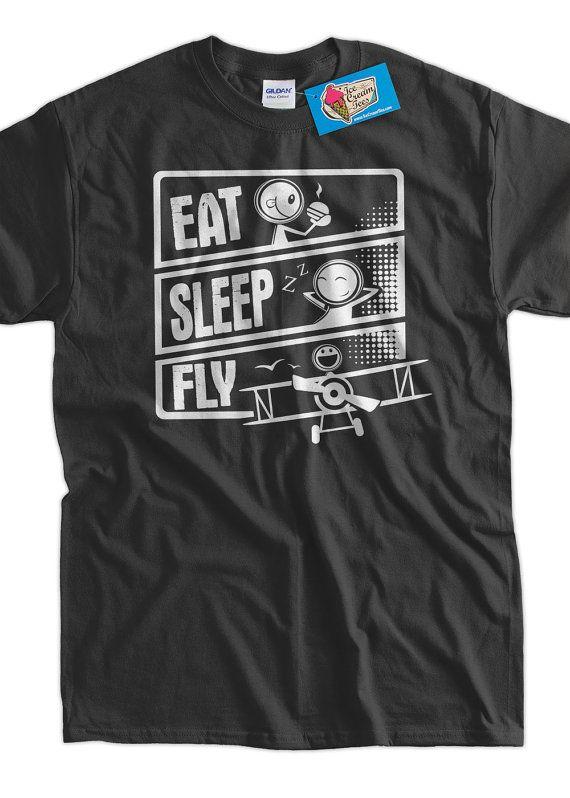 Pilot T-Shirt Plane T-Shirt Flying T-Shirt Eat Sleep Fly T-Shirt V3 ... b7ba910d7