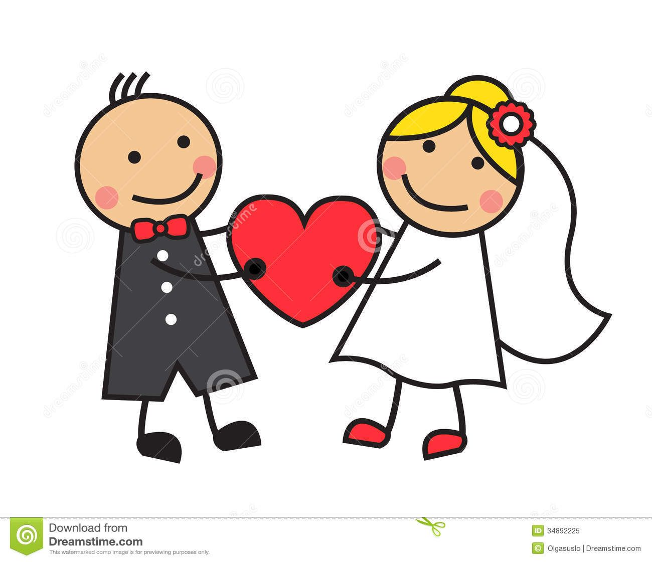 Cartoon-wedding-bride-groom-holding-heart