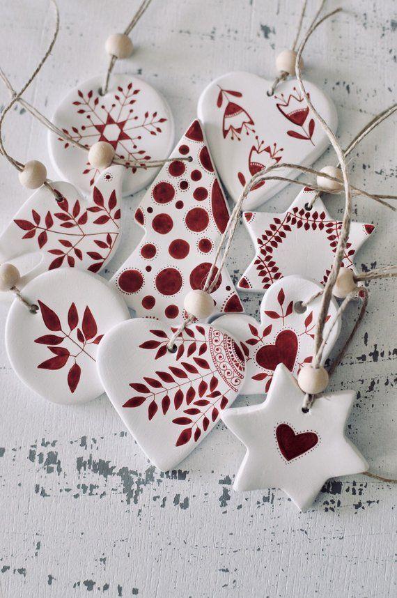 Satz von 9 Christbaumschmuck Ornamenten skandinavische Weihnachtsker ... - Chris... - My Blog #ersteradventbilder