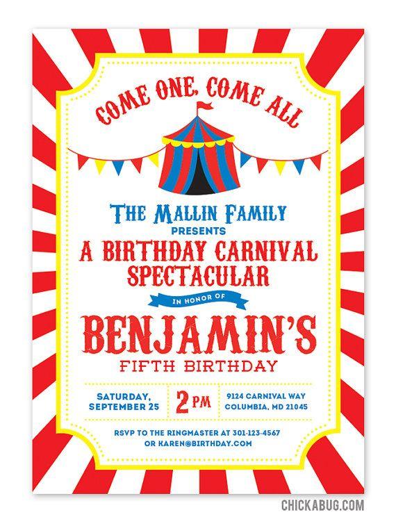 Carnival Or Circus Invitations Professionally By Chickabug Circus Invitations Circus Birthday Invitations Circus Party Invitations
