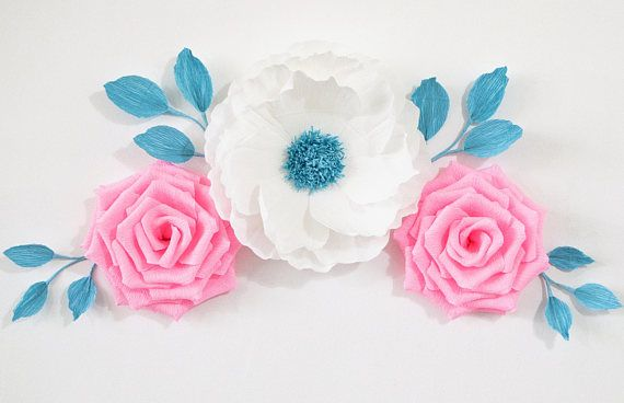Paper Flower Wall/ Nursery Decor/ Wedding Decoration/Nursery Flowers/ Baby Shower/ Bridal Shower/ Wall Flowers/ Paper Flower Backdrop